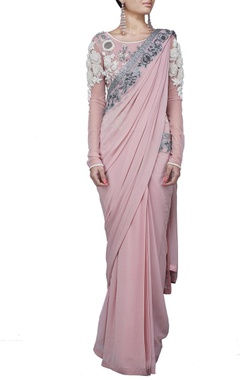 Pale pink floral embroidered sari gown