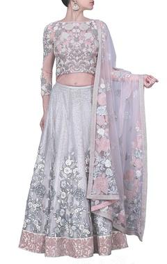 dusky pink and silver embellished lehenga