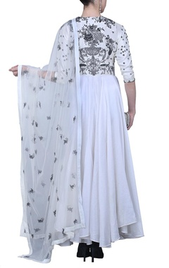 ivory and silver embroidered anarkali