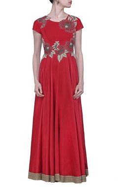 deep red floral embroidered dress