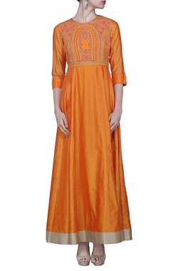 tangerine embroidered dress