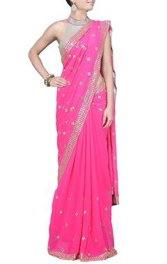 Raani pink sequin embellished sari