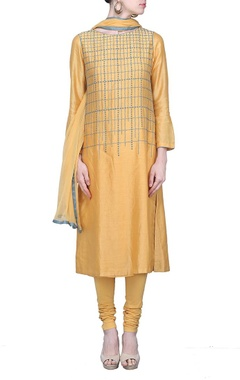 fawn embroidered kurta set