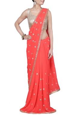 Neon orange  sequin embellished sari