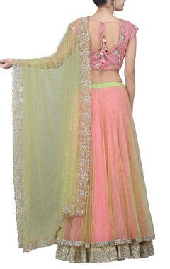 Rose pink and lime green embellished lehenga