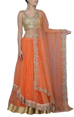 Orange ombre and gold embroidered lehenga