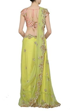 Lime green embellished sari with dusky pink choli