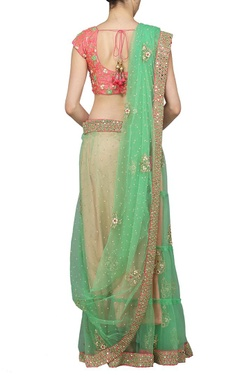 Jade green embroidered sari with rose pink choli