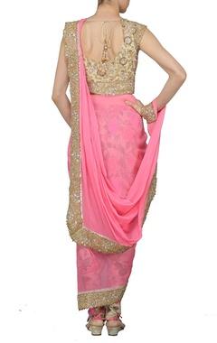 Carnation pink and floral printed dhoti sari