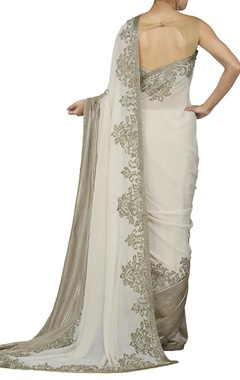 ivory and rose gold embroidered sari