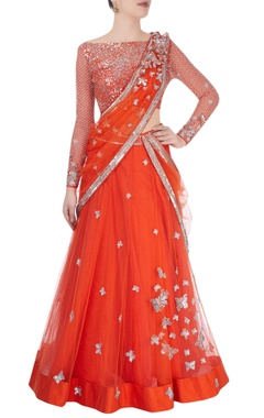 Red lehenga set with jaal & sequence embroidery