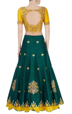 Green & yellow sequin embellished lehenga