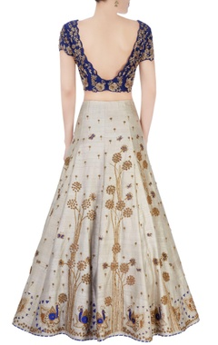 Blue & grey floral embellished lehenga