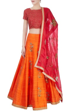 Red & orange sequin embellished lehenga