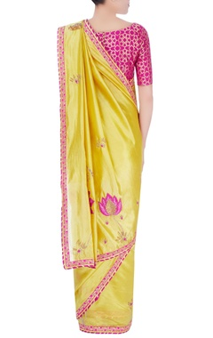 Pink & yellow embellished sari