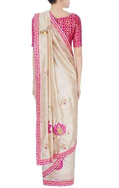 pink & beige sequin embellished sari