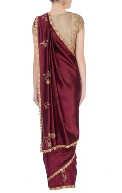 Burgundy brown goldwork sari