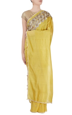 Yellow metal work sari