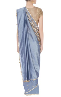 Blue metallic embroidered sari