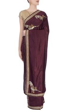 burgundy peacock print sari