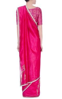 pink & white embellished sari