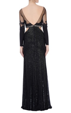 black rose motif embroidered gown