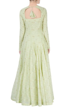 lime green anarkali with floral embroidery