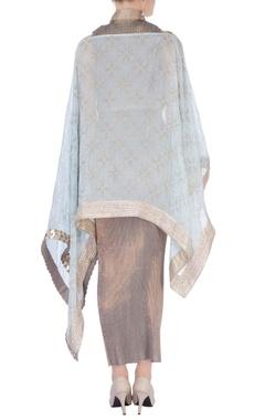 beige bead embellished maxi dress