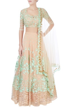 Beige lehenga with floral sequin work