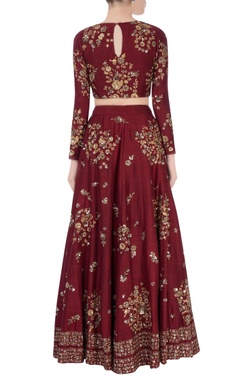 burgundy lehenga with floral motif embroidery