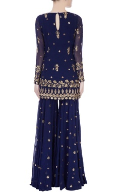 navy blue embellished sharara pant set