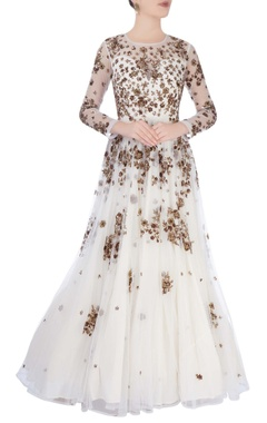 White gown with metallic embroidery