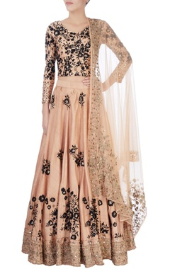 black & beige thread embroidered lehenga