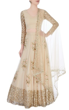 champagne lehenga with metallic embroidery