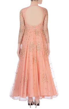 Peach anarkali with glitter embroidery