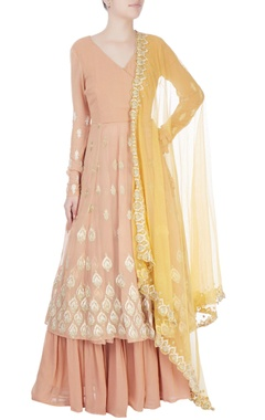 Light orange embroidered anarkali set
