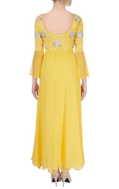 Yellow embroidered anarkali with mirrorwork