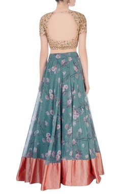 Peach & blue lehenga with floral embroidery