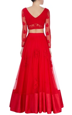hot red embroidered lehenga