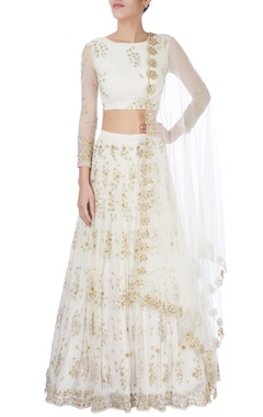 White sequin embellished lehenga