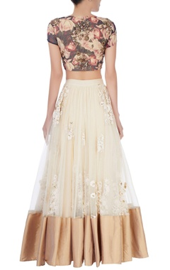 cream embroidered lehenga & floral blouse