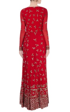 red anarkali with metallic embroidery
