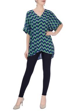 Green & blue geometric print blouse