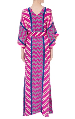 Pink & blue kaftan with tie-up detailing