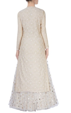 Beige & white sequin embroidered lehenga