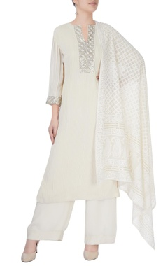 White kurta set with sequin studs