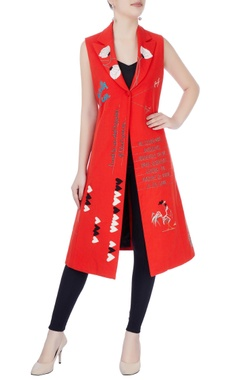 Red embroidered long jacket