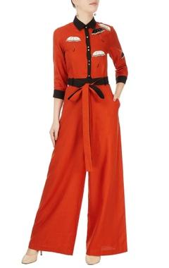 Red & black embellished jumpsuit