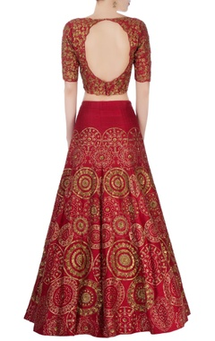 Red sequin embellished lehenga