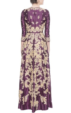 Purple & gold embroidered maxi kurta